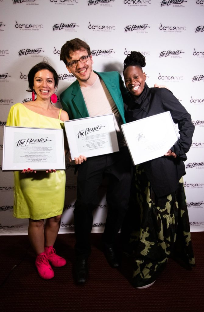 Tuce Yasak, Gil Sperling, Ni'Ja Whitson with their Bessie awards